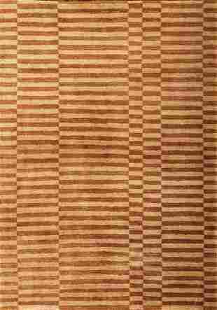 Extremely Fine Nepal Wool And Slik Stripe Rug
