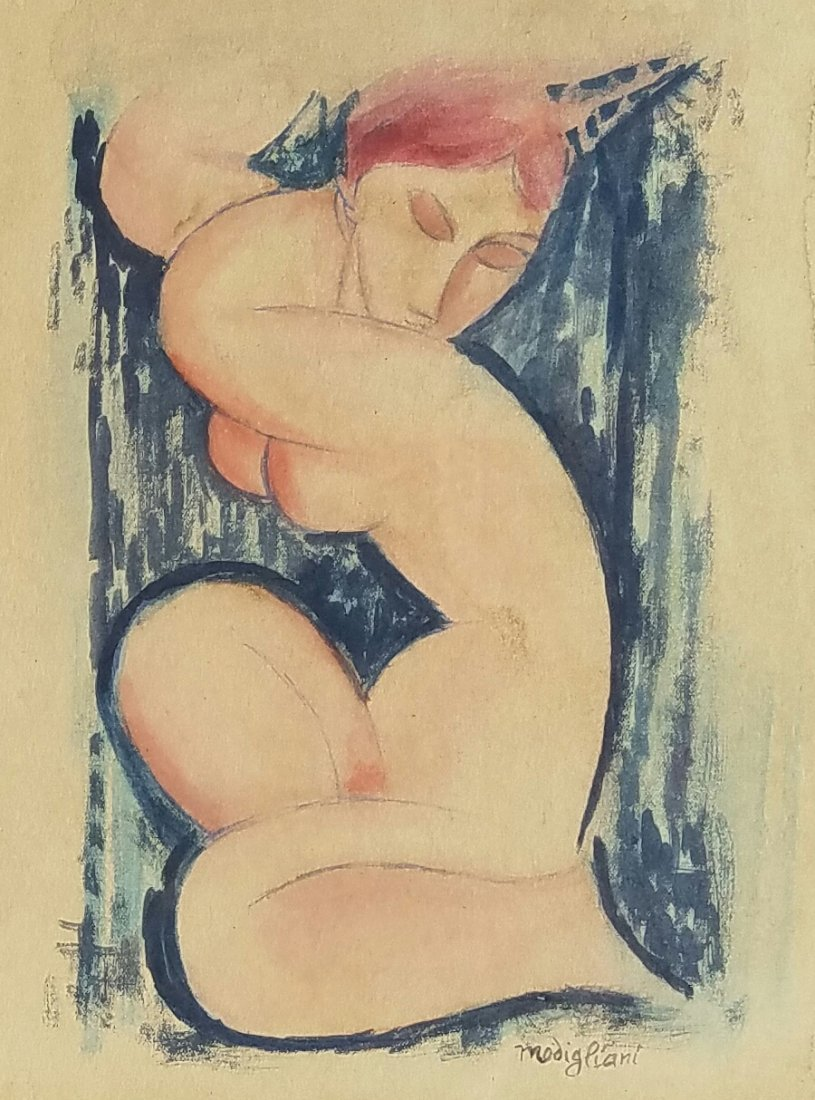 Attributed to Amedeo Modigliani (Watercolor on paper)