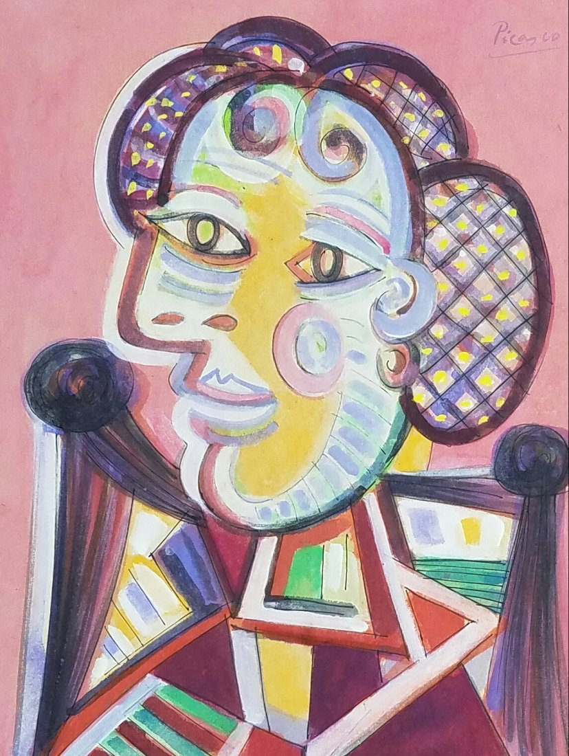 Attributed to Pablo Picasso (Mixed media on paper)
