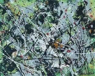 Attributed to Jackson Pollock (Mixed media on paper)