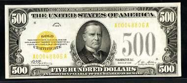 1928 $500 GOLD Certificate