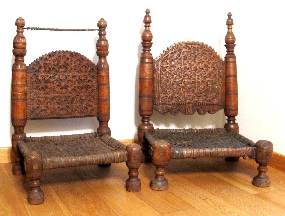 Pair of a small chairs - Afghanistan - late 19th