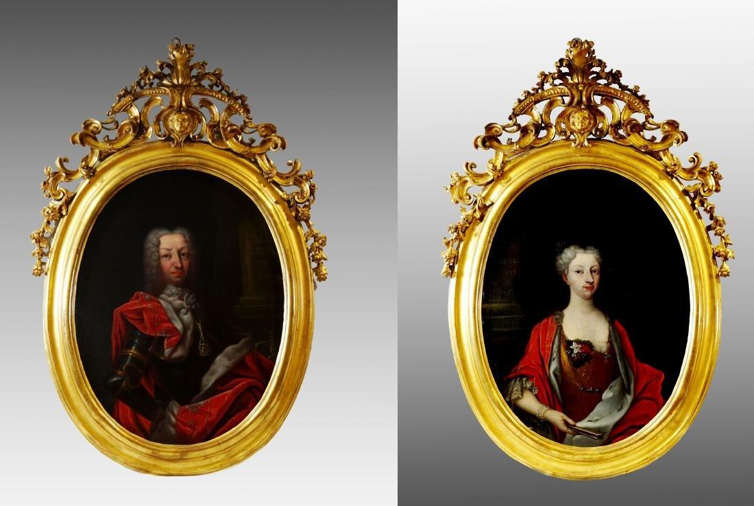 PORTRAITS OF CHARLES EMMANUEL III AND ELISABETH THERESE