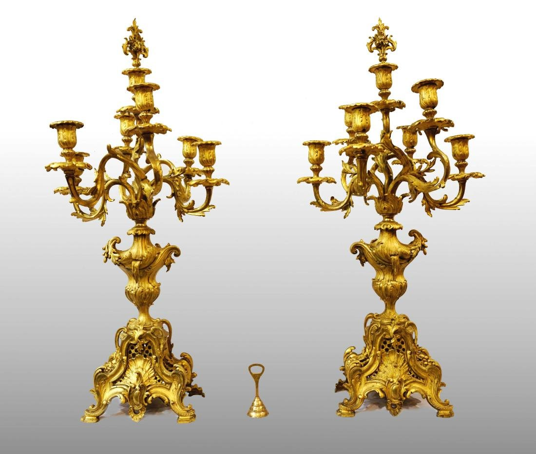 PAIR OF CANDLESTICKS WITH SEVEN LIGHTS