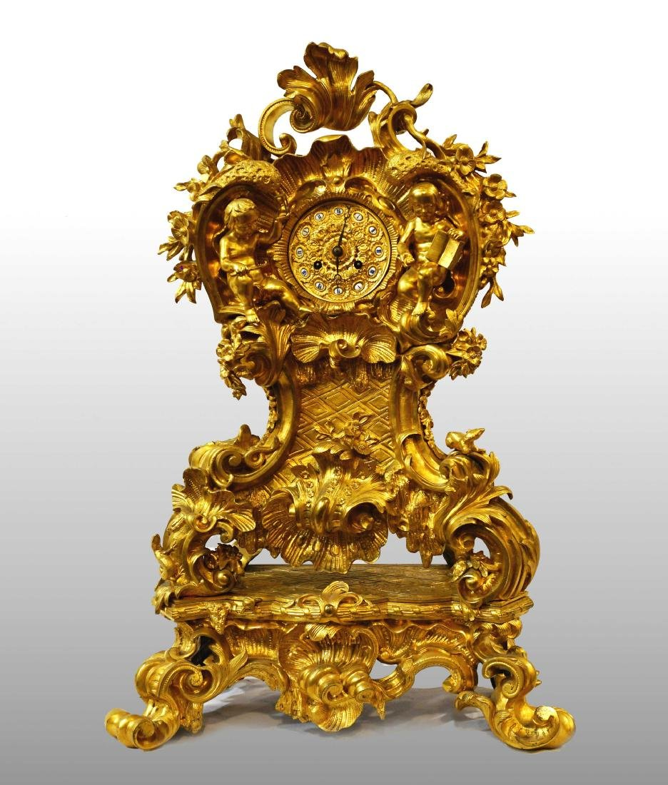 BIG FRENCH CLOCK IN GILDED BRONZE