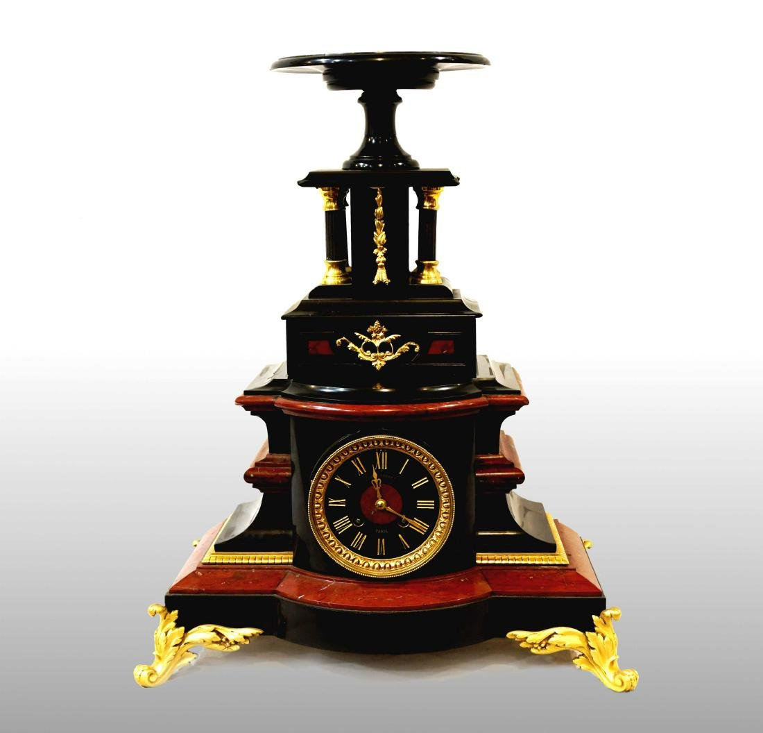 CLOCK IN BLACK MARBLE FROM BELGIUM AND RED FRANCE