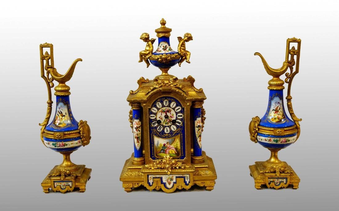 SÈVRES PORCELAIN AND METAL TRIPTYCH