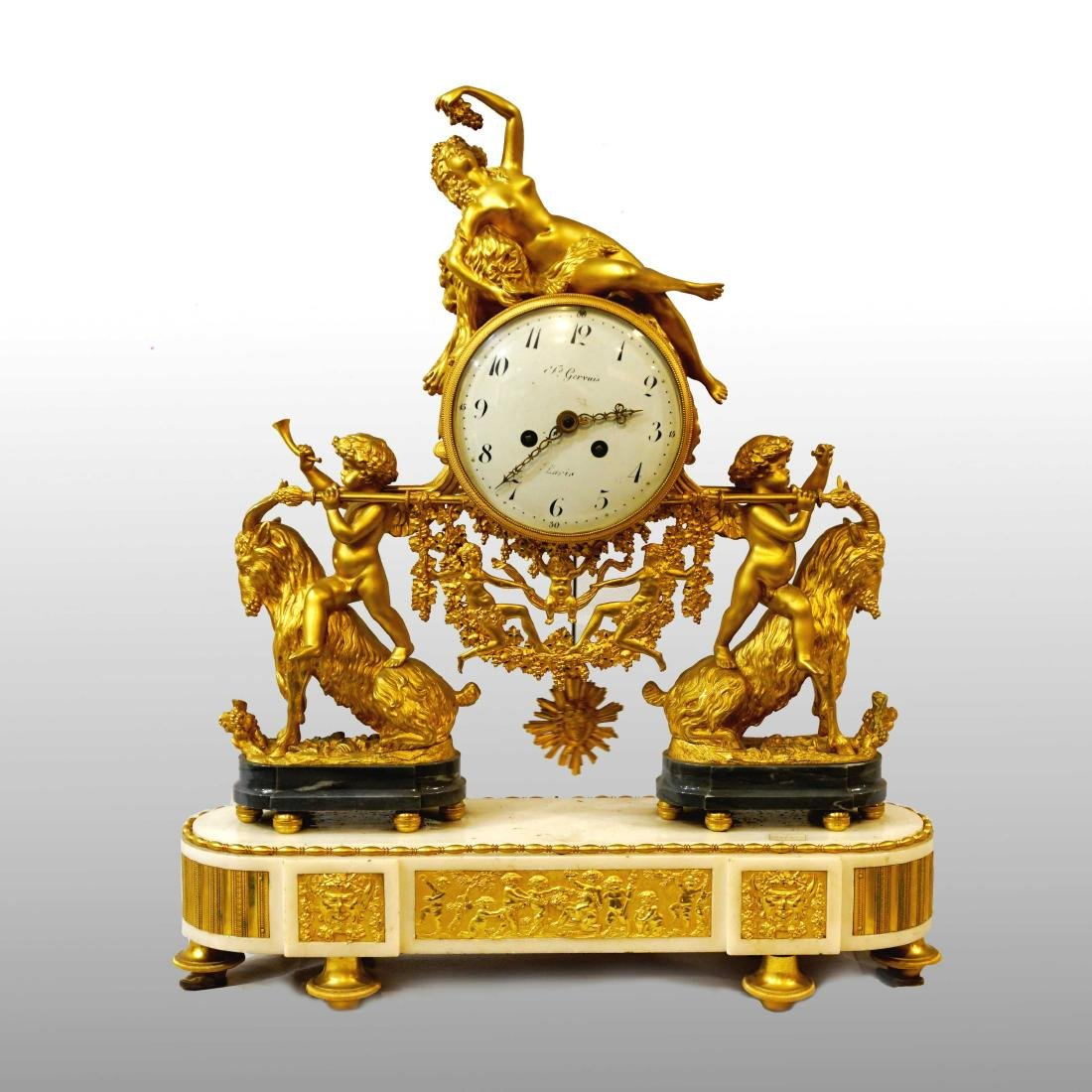 GIRL CARRIED BY TWO PUTTI CLOCK