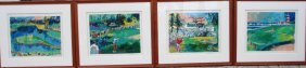 "Leroy Neiman Pga ""big Time Golf Suite Of 4 Pices Hs/n"