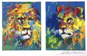"Leroy Neiman ""lion And Lioness"" Serigraph Hs/n With Coa"