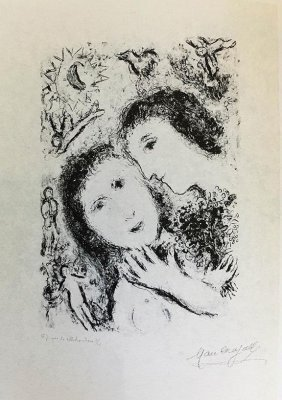 "Marc Chagall Lithograph Ref"" M940 Hs/n ""couple With.."""