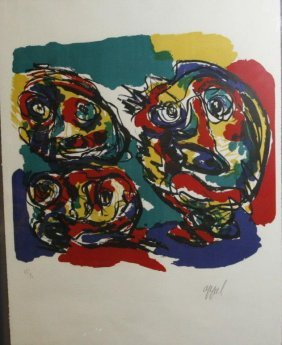 "Karel Appel ""three Heads"" Signed Numbered Lithograh"