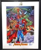 Avengers Assemble Signed Lithograph Marvel Comics Frame