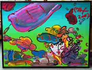 """Peter Max """"Lady with Floating Flowers"""" 36x48 Ver.II/2 A"""
