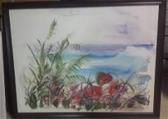 "Edna Hibel Unique Original on Canvas Hand Signed ""Beach"