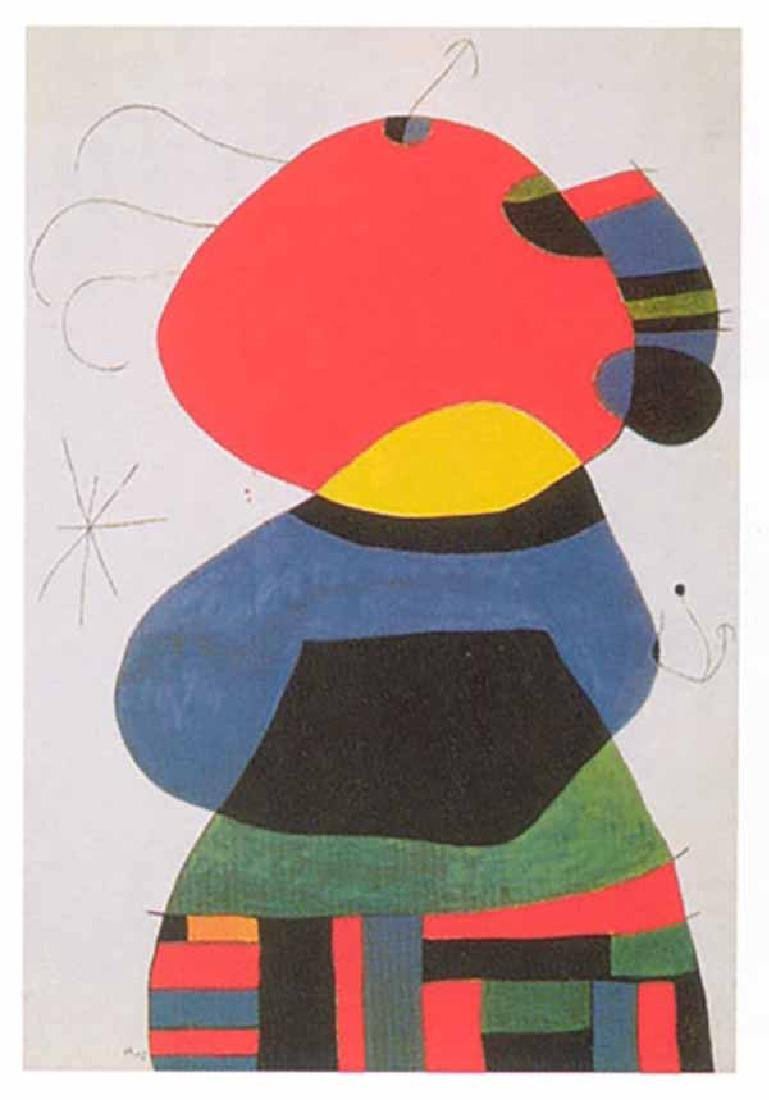 """Joan Miro, """"Woman with Three Hairs"""" Lithograph Signed"""