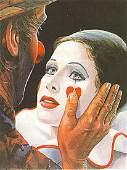Leighton Jones CANVAS Clown with Tear Signed Ltd