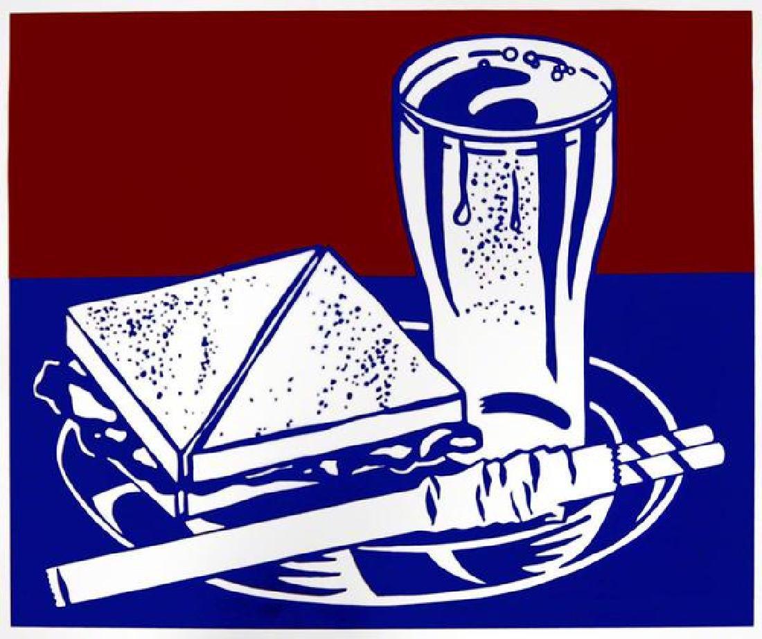 ROY LICHTENSTEIN  Sandwich and Soda, 1964, Screenprint