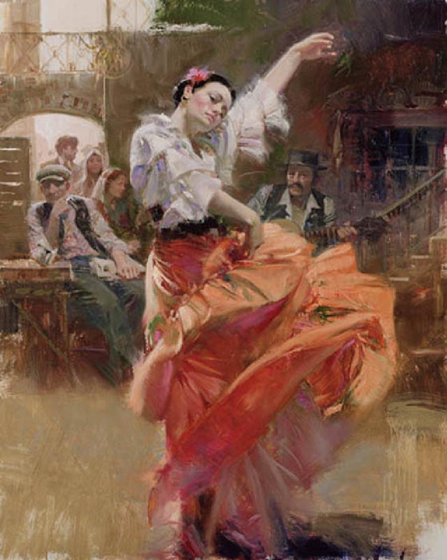 """ FLAMENCO IN RED ""  By Pino giclee on canvas HS/N"