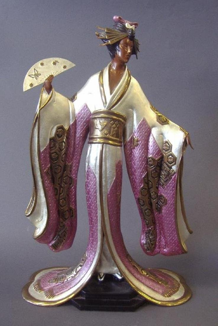 "Erte ""Madame Butterfly"" Bronze Sculpture Signed and"