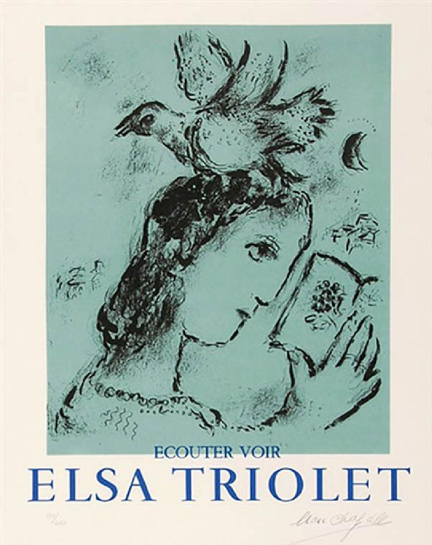 "Marc CHAGALL ""Elsa TRIOLET"" Original lithograph HS/N"