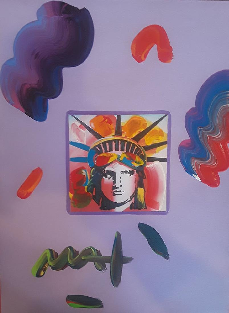 "PETER MAX ""Liberty Head"" Original Mix Media 11"" X 14"""