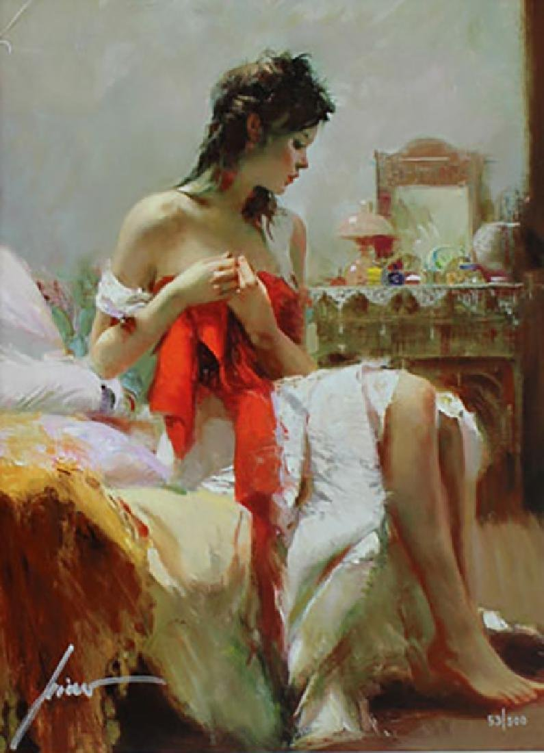 """Pino Giclee Canvas S/# """"Expectations"""" Lady partially"""