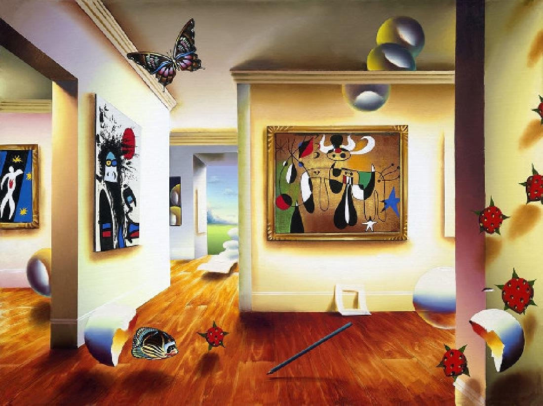 "Ferjo ""Homage to Miro"" Giclee Canvas 32x24 Hand"