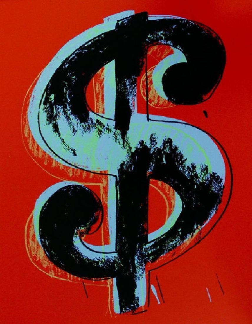 "Andy Warhol ""Dollar Red"" Original Screeenprint Sunday B"