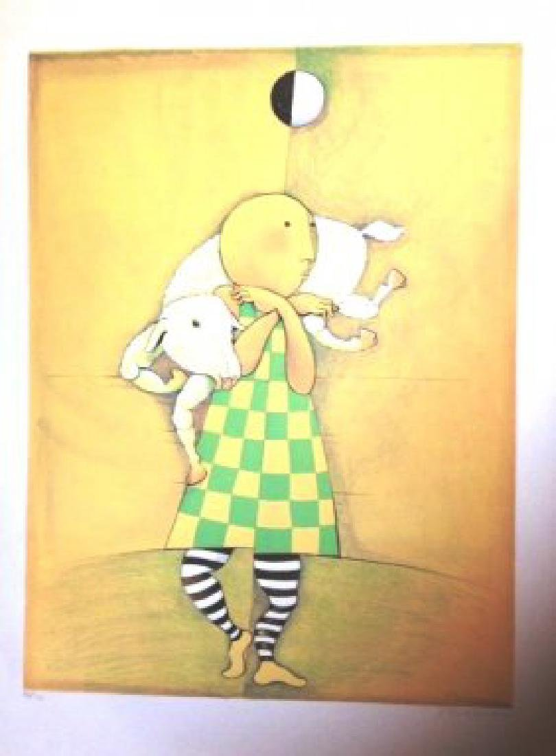 Boulanger hand signed & # lithograph boy with lamb