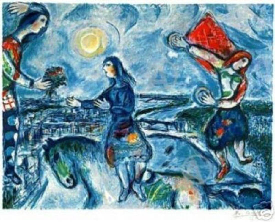 "Marc Chagall ""Lovers Over Paris"" Lithograph Faxcs/s p/n"