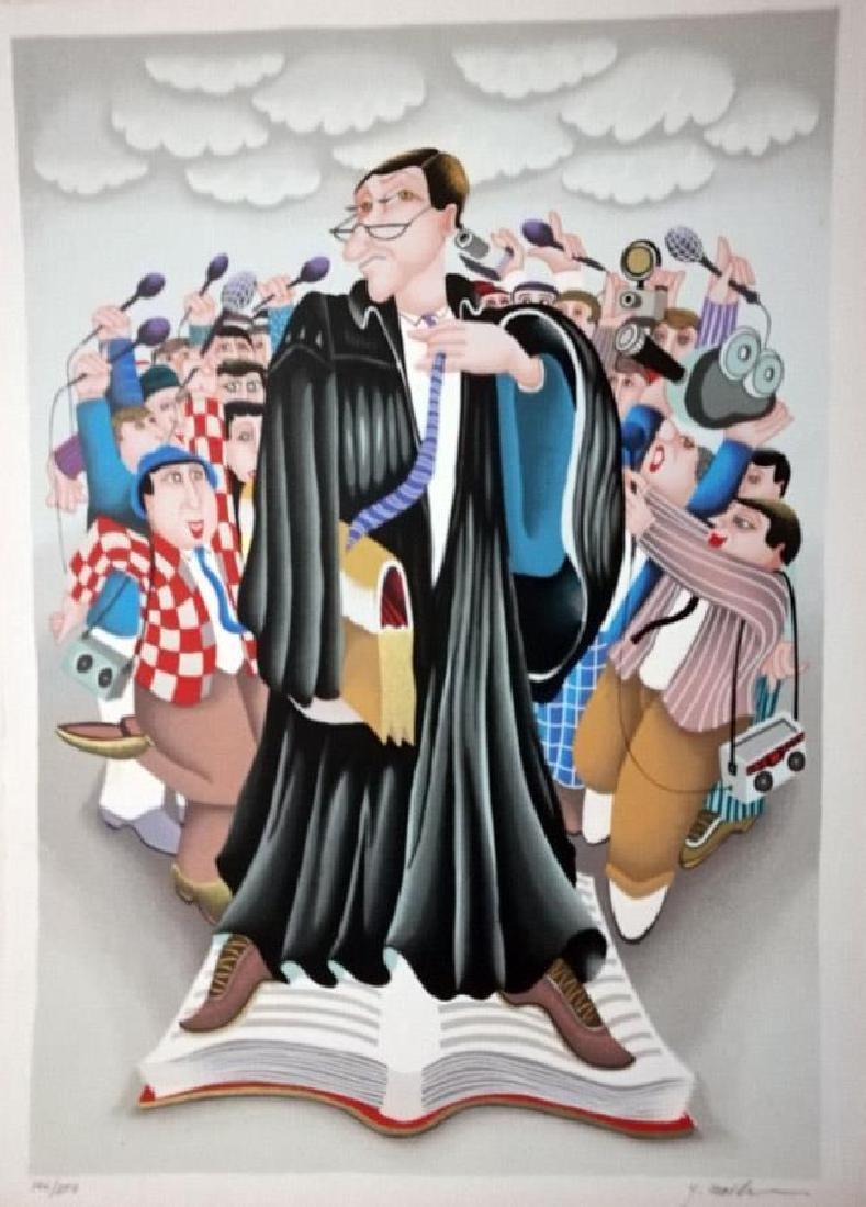 Yuval Mahler Attorney Judge Robed Lithograph Hand