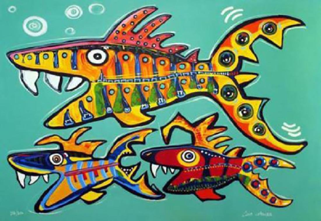 "Lisa Grubb ""Three Fish"" Giclee Canvas Hand signed and"
