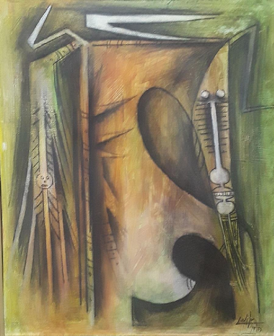 Wifredo Lam (1902-1982) Mix Media On Canvas 1973
