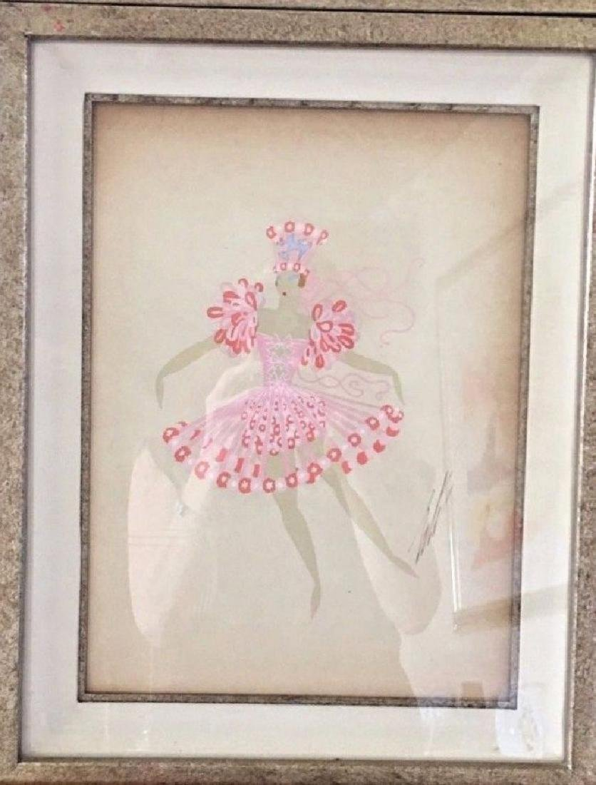 "Erte ""Les Girls"" Rare Original Framed Gouache"