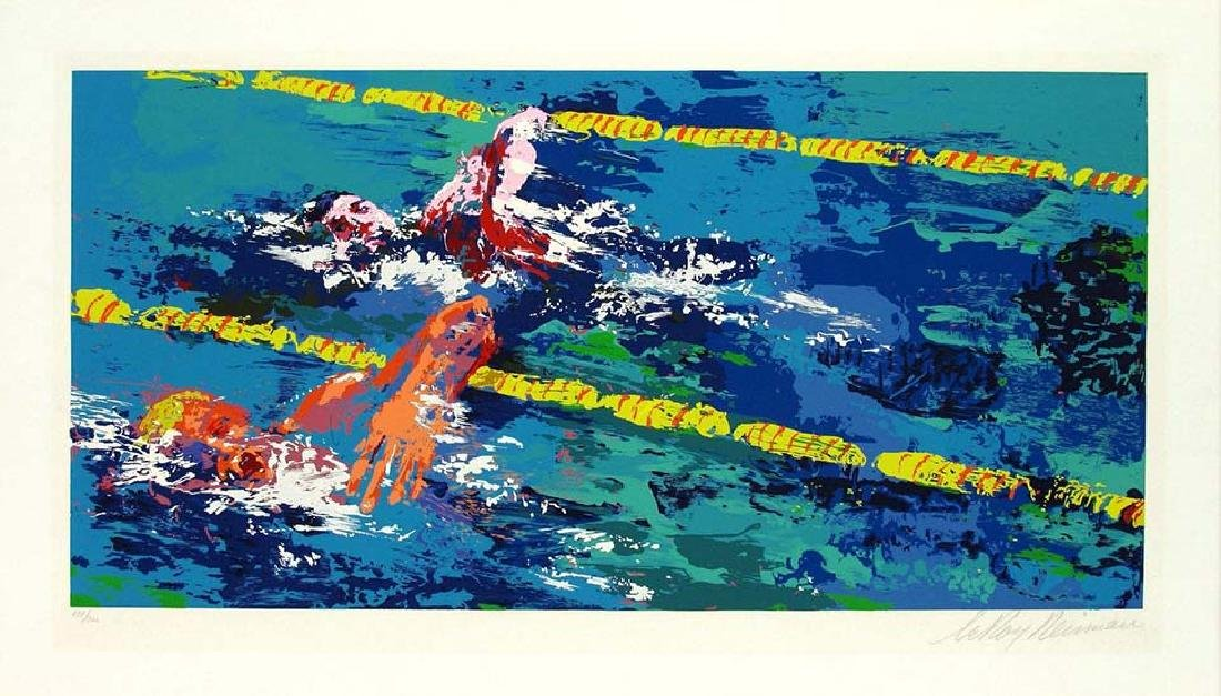"""Leroy Neiman Pencil Signed/# """"Olympic Swimmers"""" Swimmer"""