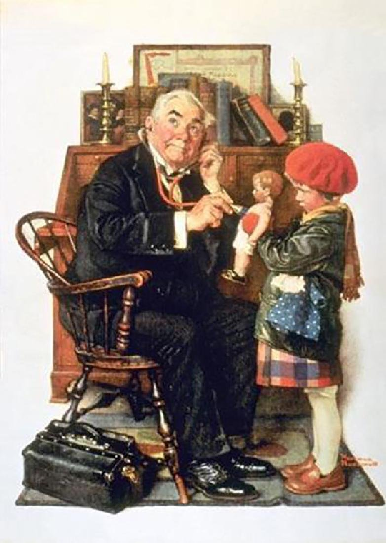 "Norman Rockwell ""Doctor and Doll"" Adorable little girl"