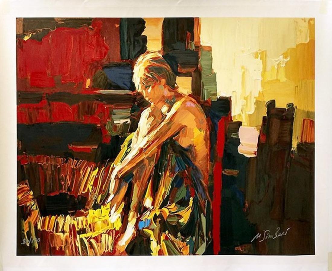 """Nicola Simbari """"Apres le Bain"""" Giclee on canvas HS/N"""