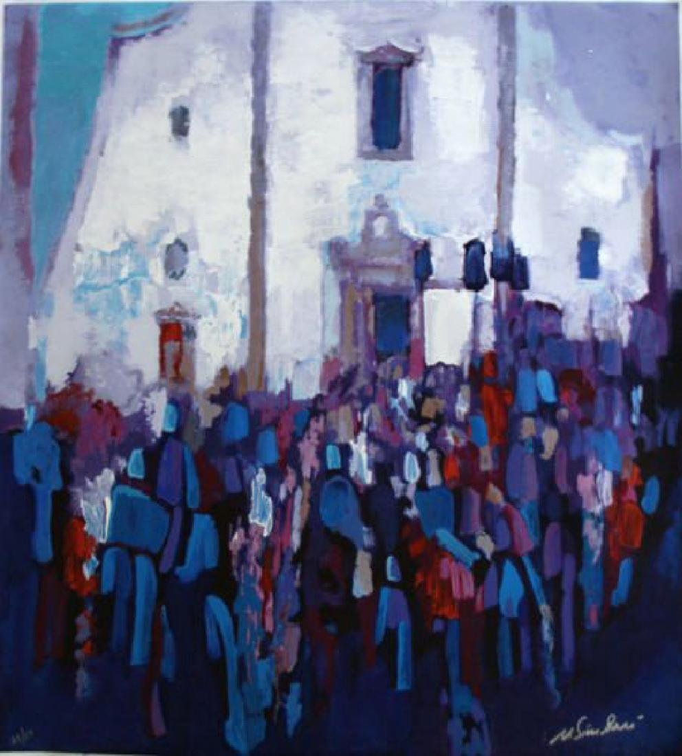 "Nicola Simbari Serigraph Canvas SIGNED/# ""Piazza Del Du"