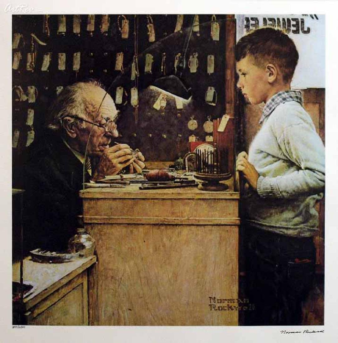 "Norman Rockwell, ""The Watchmaker"" L/E Faxcim. Signed"