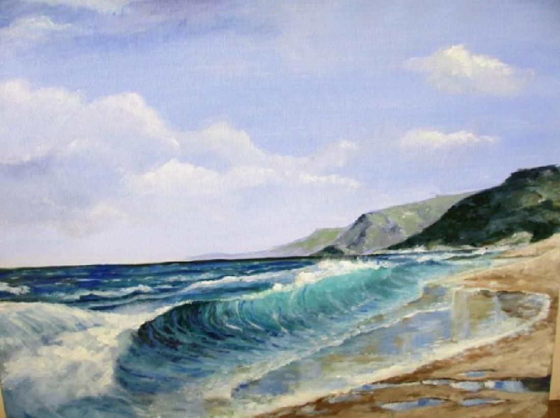 "Rousselet ""The Beach"" Original oil on canvas H/S"