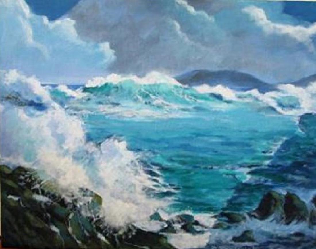 """Rousselet """"Waves & Rocks"""" Original oil on Canvas H/S"""