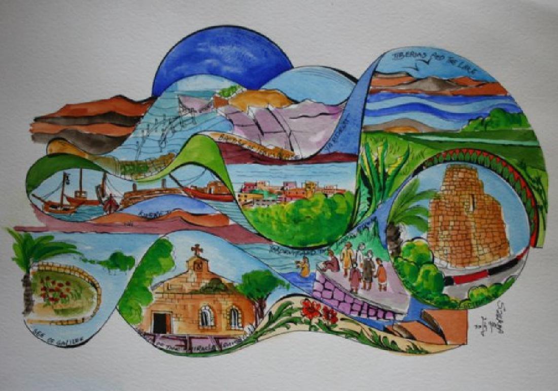 "Sami Zilkha Monotype Water Color ""Tiberius & Galilee"""