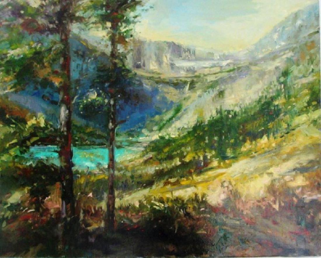 Stephen Shortridge Glacier Park Original Oil St. Canvas