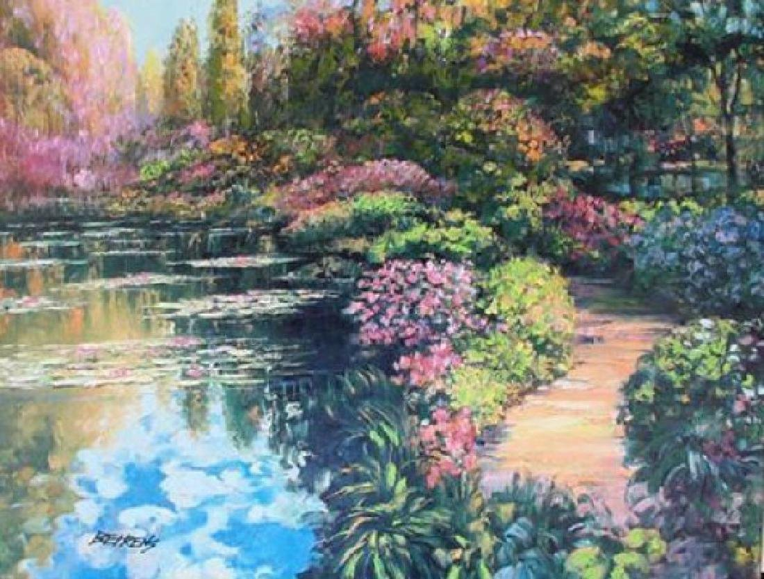 "HOWARD BEHRENS ""GIVERNY PATH"" EMBELLISHED GICLEE HS/N"