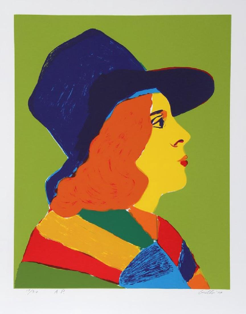 John Grillo, Girl with Hat I,  HS/N Serigraph