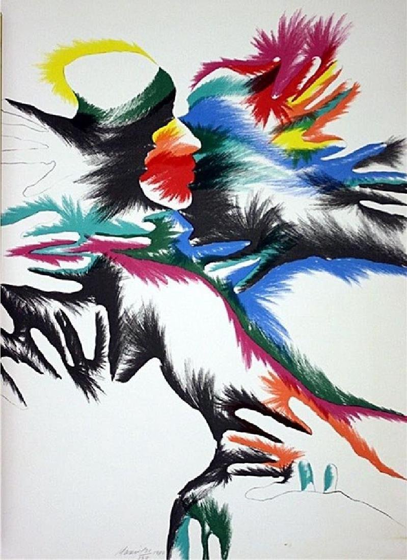 Marisol Escobar HS/N Signed Color Lithograph Blackbird