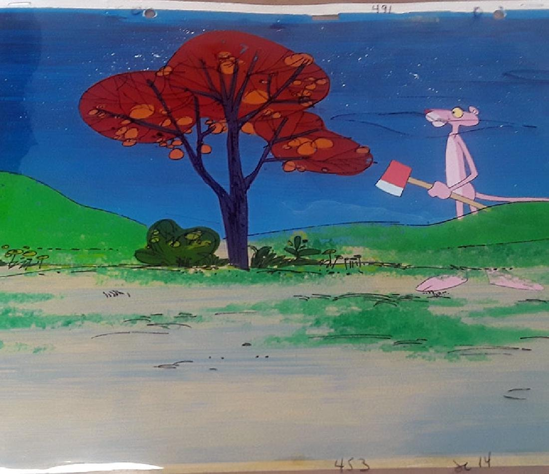 PINK PANTHER HAND PAINTED BACKGROUND & ORIGINAL CARTOON