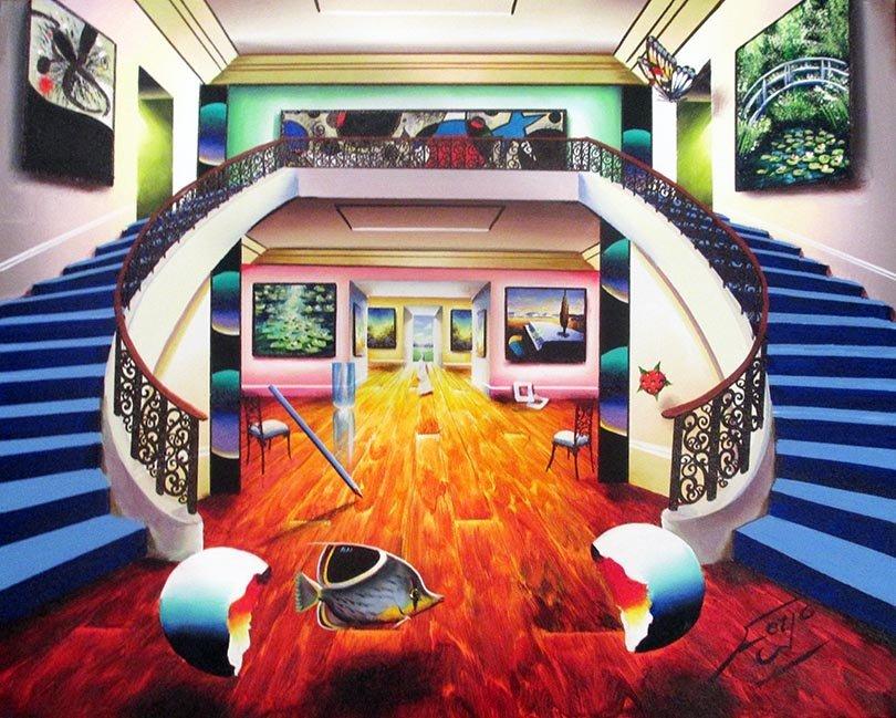 "Ferjo Original Oil on canvas, ""Miro's Duel Stairway"" HS"