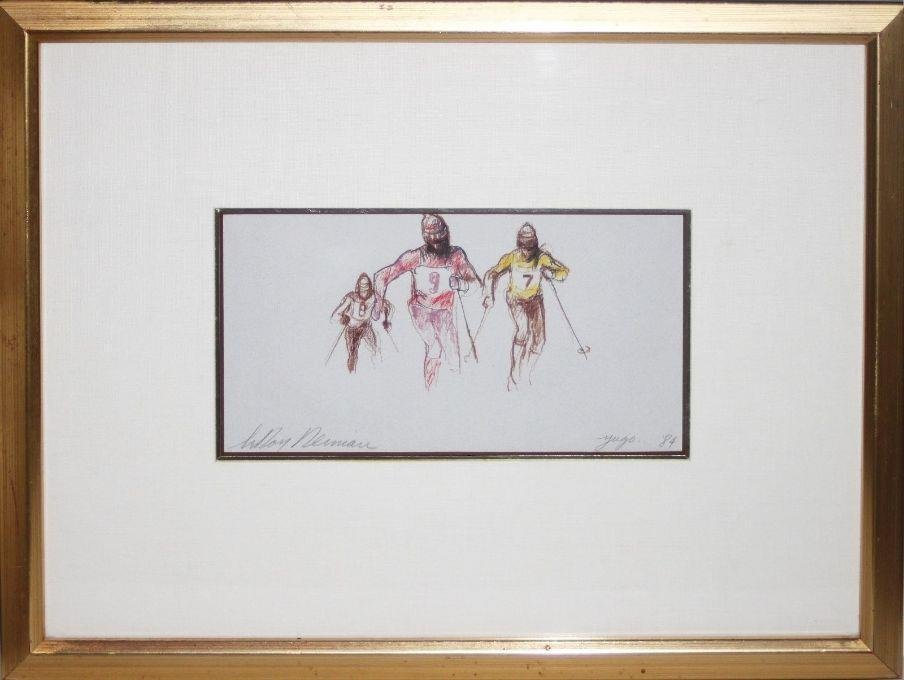 "Leroy Neiman Framed Original ""Skiers"" Signed Drawing"